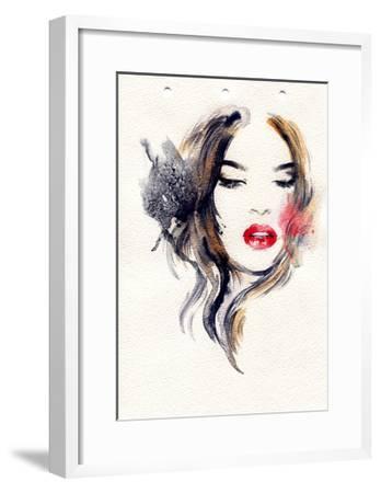 Woman Face. Hand Painted Fashion Illustration-Anna Ismagilova-Framed Art Print