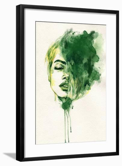 Woman Face. Hand Painted Fashion Illustration-Anna Ismagilova-Framed Premium Giclee Print