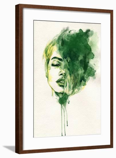 Woman Face. Hand Painted Fashion Illustration-Anna Ismagilova-Framed Premium Giclee Print