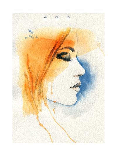 Woman Face. Hand Painted Fashion Illustration-Anna Ismagilova-Art Print