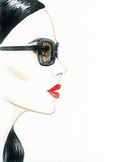 Woman Face with Glasses. Fashion Illustration-Anna Ismagilova-Photographic Print