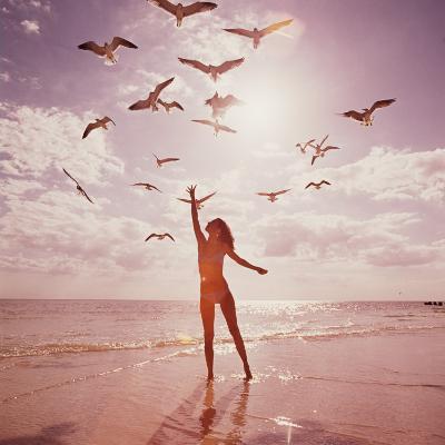 Woman Feeding Seagulls-Dennis Hallinan-Photographic Print