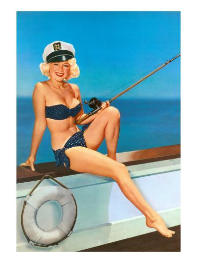 Woman Fishing in Bikini and Captain's Hat--Art Print