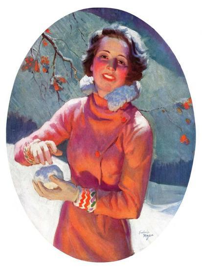 """""""Woman Forming a Snowball,""""February 10, 1934-Frederic Mizen-Giclee Print"""