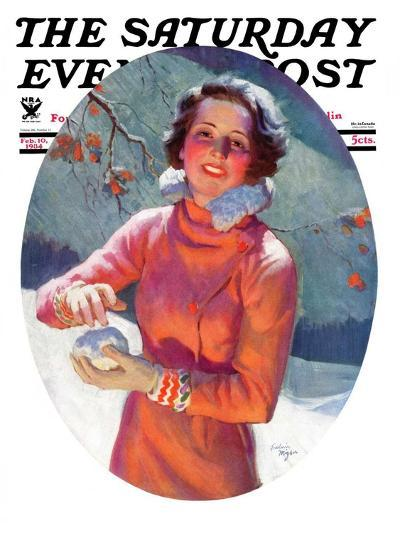 """""""Woman Forming a Snowball,"""" Saturday Evening Post Cover, February 10, 1934-Frederic Mizen-Giclee Print"""