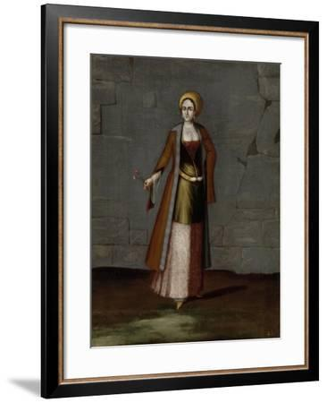 Woman from the Island of Tinos-Jean Baptiste Vanmour-Framed Art Print