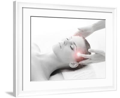 Woman Getting Massaging Treatment over White Background-shmeljov-Framed Photographic Print