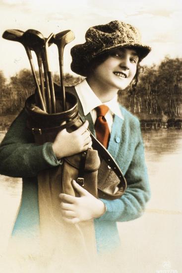 Woman golfer, postcard, c1910-Unknown-Giclee Print