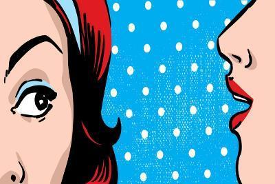 Woman Gossip, Polka Dots Retro Background-lavitrei-Art Print