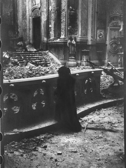 Woman Grieving over Wreckage of Catholic Church Burned During Uprising Against Peron--Photographic Print