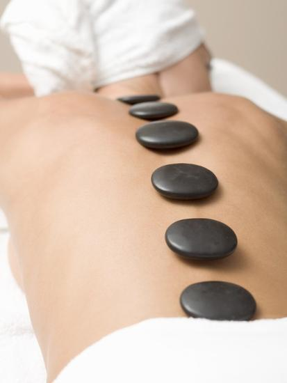 Woman Having Lastone Therapy (Healing Therapy Using Stones)--Photographic Print