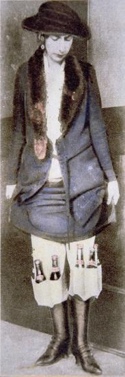 Woman Hiding Illegal Bottles of Beer under Skirt in Special Underwear Pockets, American Prohibition--Giclee Print