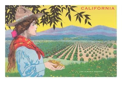 Woman Holding Almonds, California--Art Print