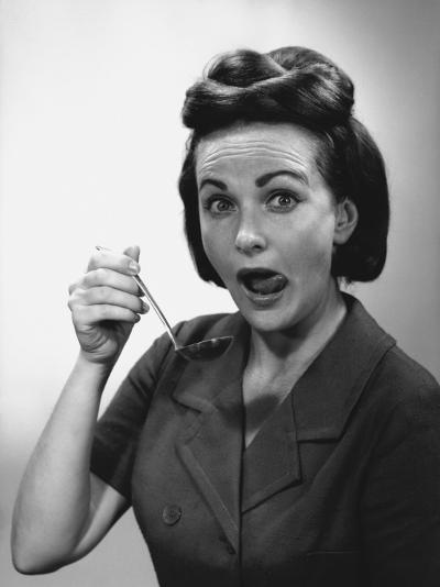 Woman Holding Ladle, Licking Lips, Portrait-George Marks-Photographic Print