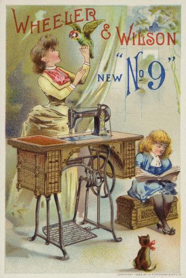 Woman Holding Parrot Next to Sewing Machine--Giclee Print