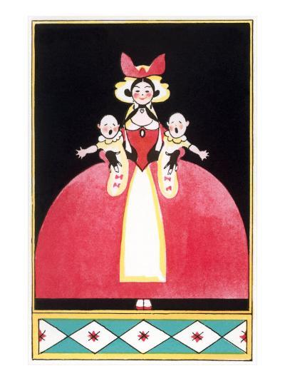 Woman Holding Squalling Twins Baby--Art Print