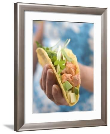 Woman Holding Taco--Framed Photographic Print