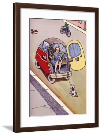 Woman in a Bubble Car--Framed Giclee Print