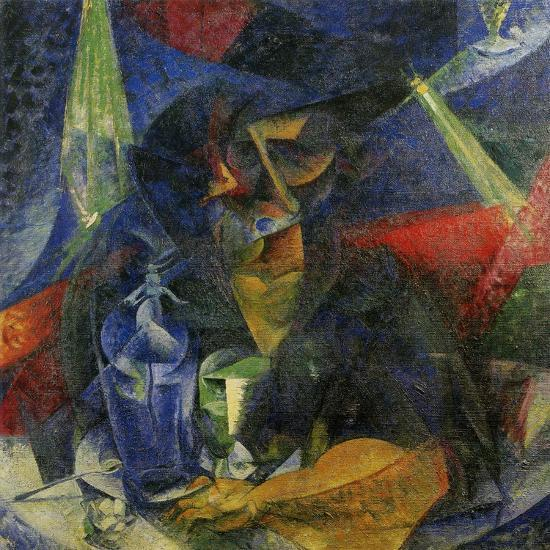 Woman in a Cafe: Compentrations of Lights and Planes-Umberto Boccioni-Giclee Print