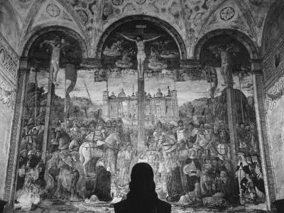Woman in a Church Contemplating a Wall Painting of the Crucifixion-Carl Mydans-Photographic Print