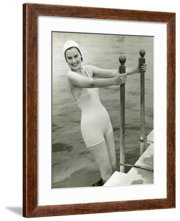 Woman in Bathing Suit and Swimming Cap-George Marks-Framed Photographic Print