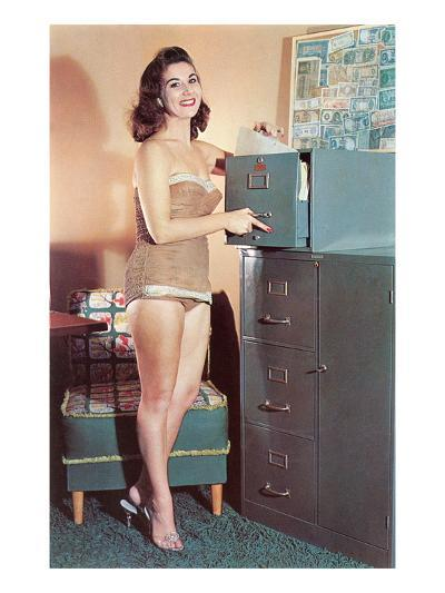 Woman in Bathing Suit with File Cabinet, Retro--Art Print