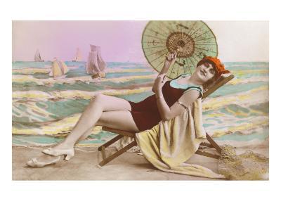 Woman in Beach Chair with Parasol--Art Print