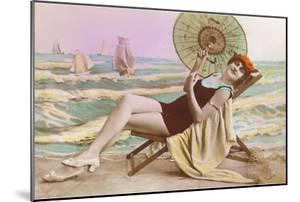 Woman in Beach Chair with Parasol