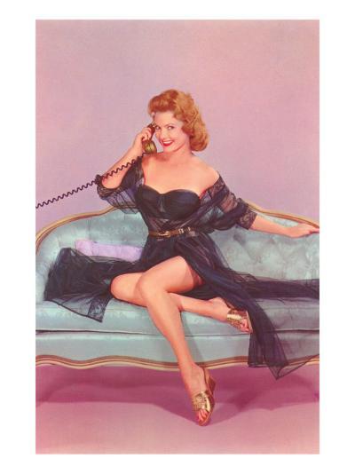 Woman in Black Lingerie on Telephone--Art Print