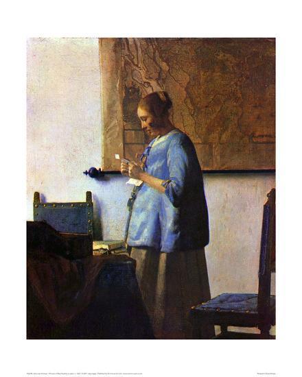 Woman in Blue Reading-Johannes Vermeer-Giclee Print
