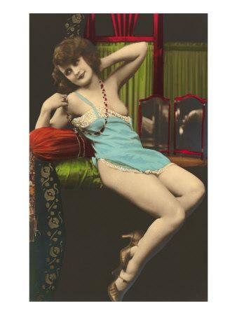 Woman in Blue Slip--Art Print