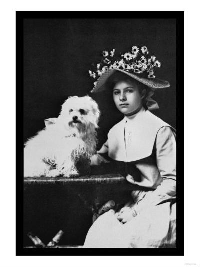 Woman in Bonnet with Maltese Terrier--Art Print