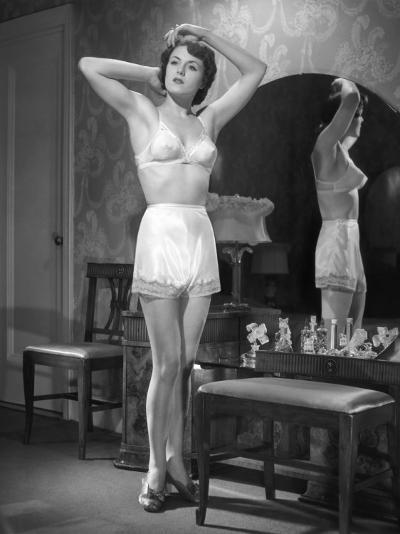 Woman in Brassiere and Panties at Her Mirror-George Marks-Photographic Print