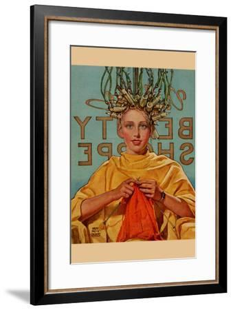 Woman In Curlers Knits--Framed Art Print