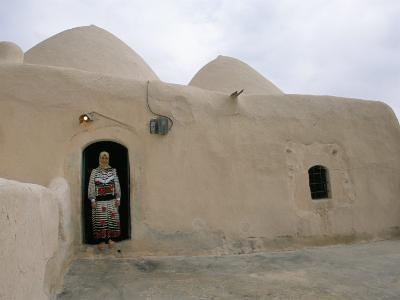 Woman in Doorway of a 200 Year Old Beehive House in the Desert, Ebla Area, Syria, Middle East-Alison Wright-Photographic Print