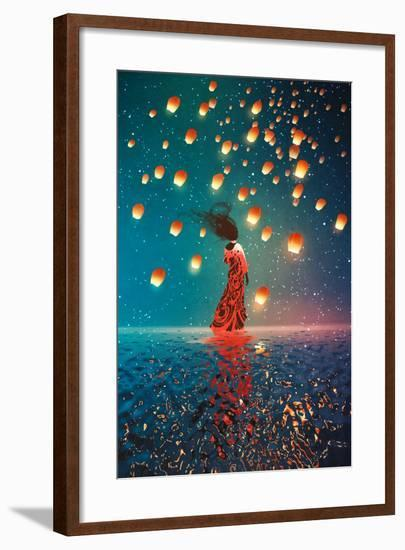 Woman in Dress Standing on Water against Lanterns Floating in a Night Sky,Illustration Painting-Tithi Luadthong-Framed Art Print