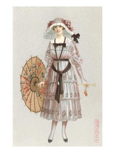 Woman in Droopy Hat, Fashion Illustration--Art Print