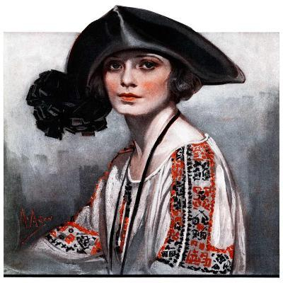 """""""Woman in Embroidered Blouse,""""May 5, 1923-Neysa Mcmein-Giclee Print"""