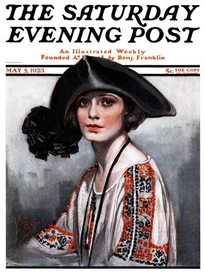 """""""Woman in Embroidered Blouse,"""" Saturday Evening Post Cover, May 5, 1923-Neysa Mcmein-Giclee Print"""