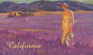 Woman in Field of Purple Flowers, California