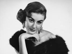 Woman in Formal Dress With Fur Stole Around Shoulders