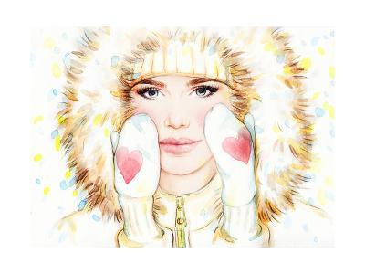 Woman in Fur Coat , Winter Accessories. Young Beauty Woman with Hat. Watercolor Illustration-Anna Ismagilova-Art Print