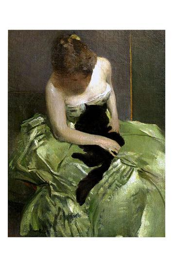 Woman in Green Dress with Black Cat-John White Alexander-Giclee Print