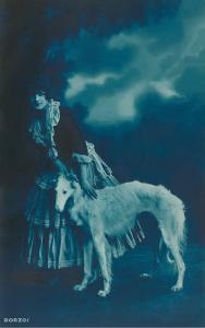 Woman in Gypsy Outfit with Borzoi