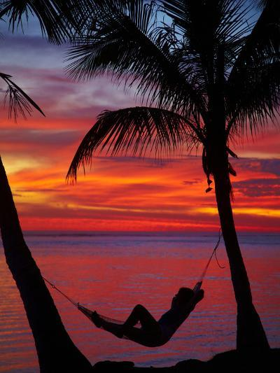 Woman in Hammock, and Palm Trees at Sunset, Coral Coast, Viti Levu, Fiji, South Pacific-David Wall-Photographic Print