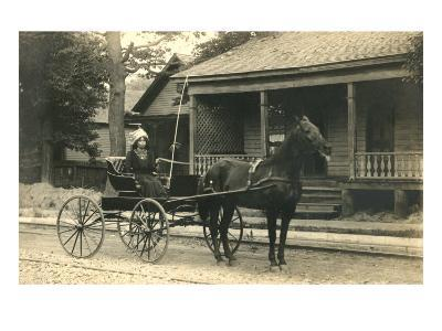 Woman in Horse-Drawn Buggy--Art Print