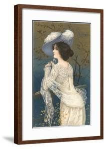 Woman in Lacy White Dress and Feathered Hat