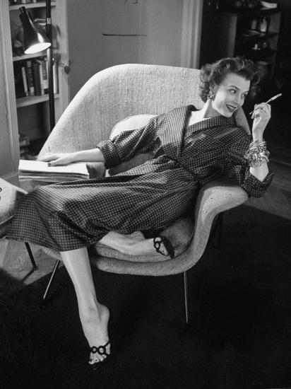 Woman in Man's Tie Silk Dressing Gown from Brooks Brothers-Nina Leen-Photographic Print