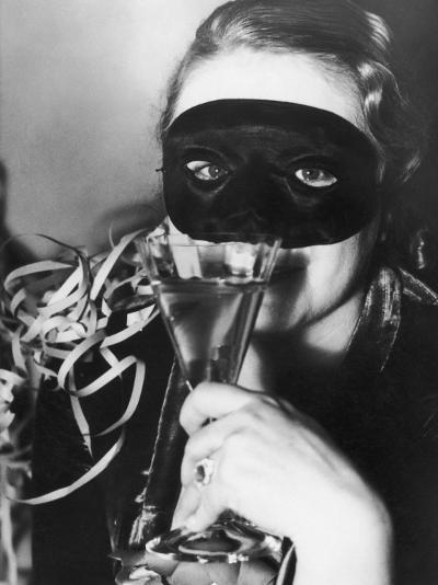 Woman in Mask Celebrating at a New Years Party--Photographic Print