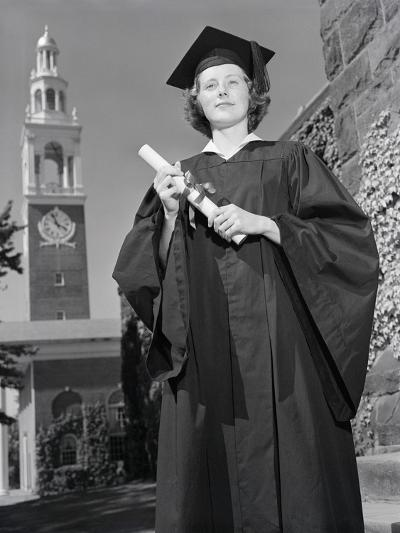 Woman in Mortarboard and Gown-Philip Gendreau-Photographic Print